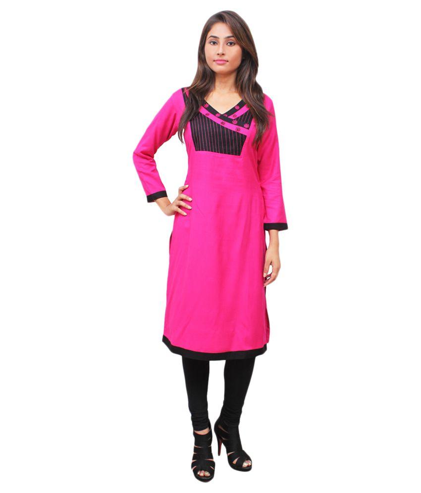 Harshaya G Pink Rayon Straight Kurti