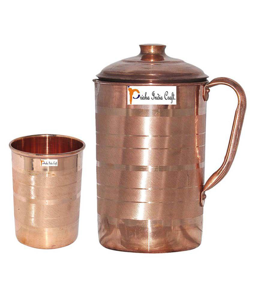Prisha India Craft Copper Jug ( Handmade Jug 1899 ML / 64.21 oz ) with One Glass Drinkware Set of Jug and Glass