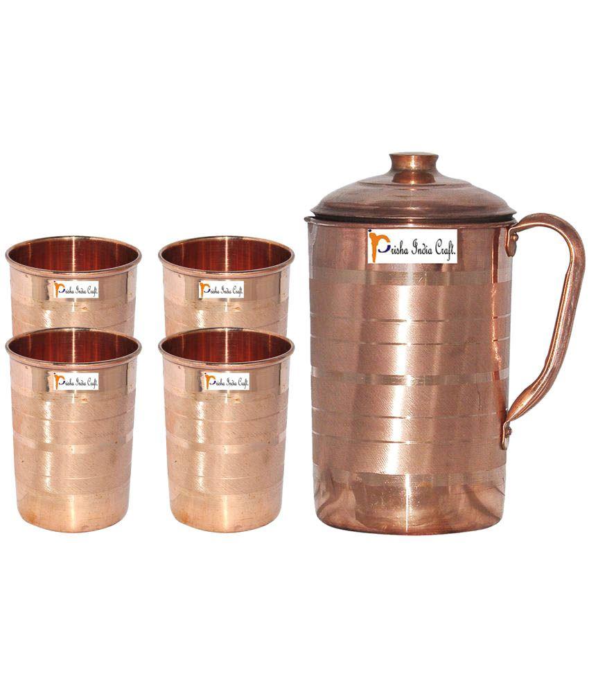 Prisha India Craft Copper Jug ( Handmade Jug 1899 ML / 64.21 oz ) with Four Glass Drinkware Set of Jug and Glass