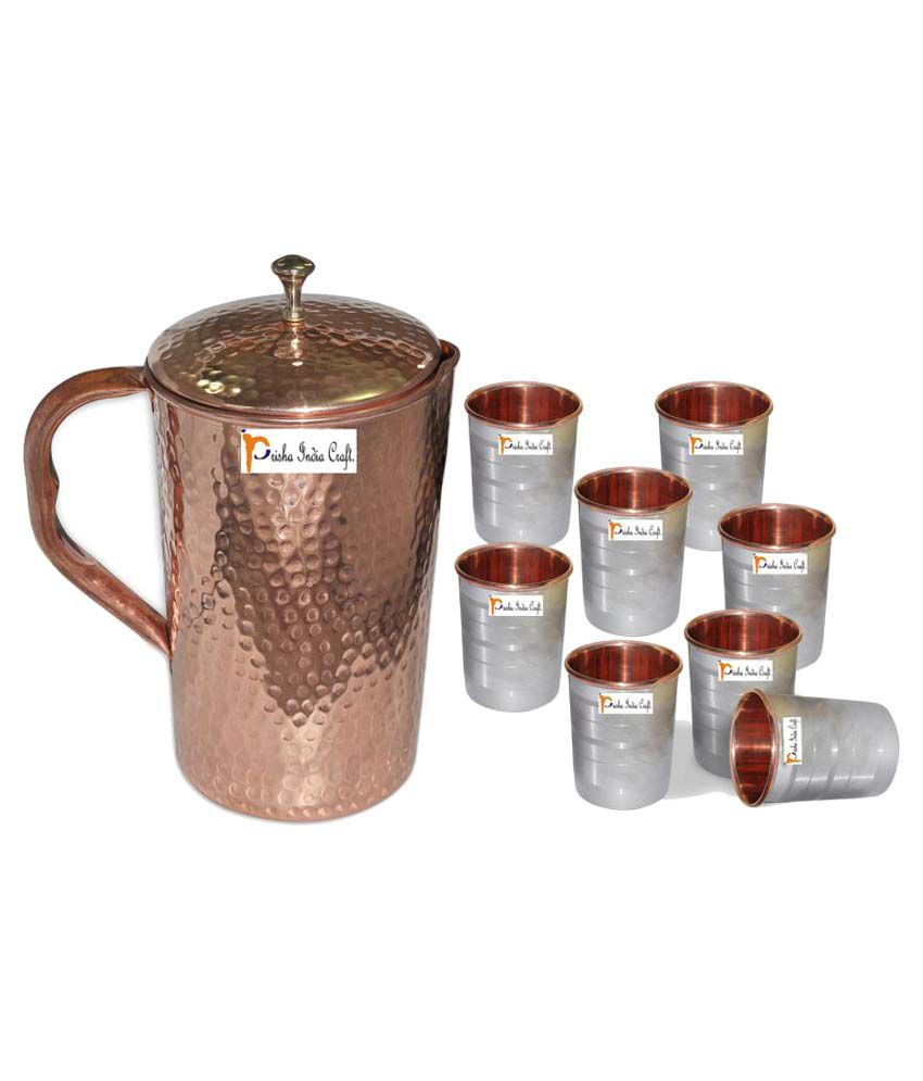 Prisha India Craft Copper Jug  ( Hammered Jug 1650 ML / 55.80 oz ) with Eight (8) Glass Drinkware Set of Jug and Glass