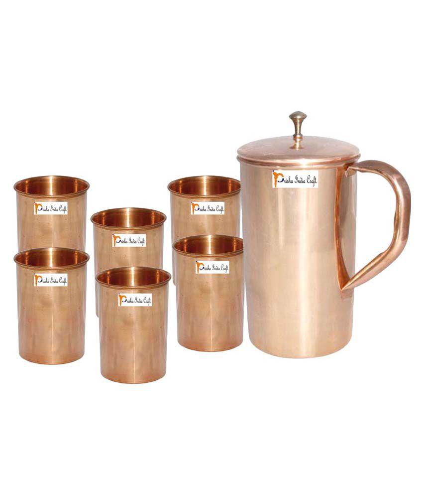 Prisha India Craft Copper Jug ( Handmade Jug 1800 ML / 60.86 oz ) with Six Glass Drinkware Set of Jug and Glass