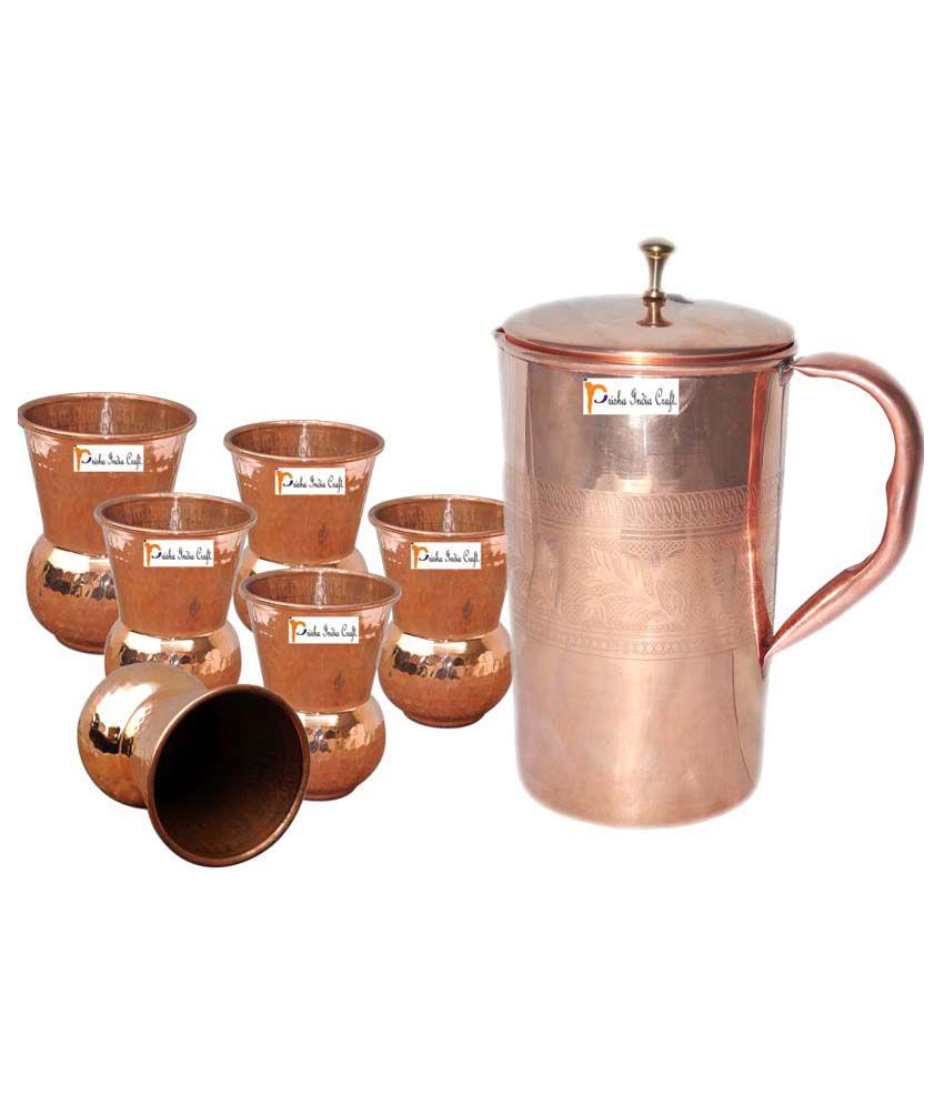 Prisha India Craft Copper Jug ( Handmade Jug 1600 ML / 54.10 oz ) with Six Glass Drinkware Set of Jug and Glass