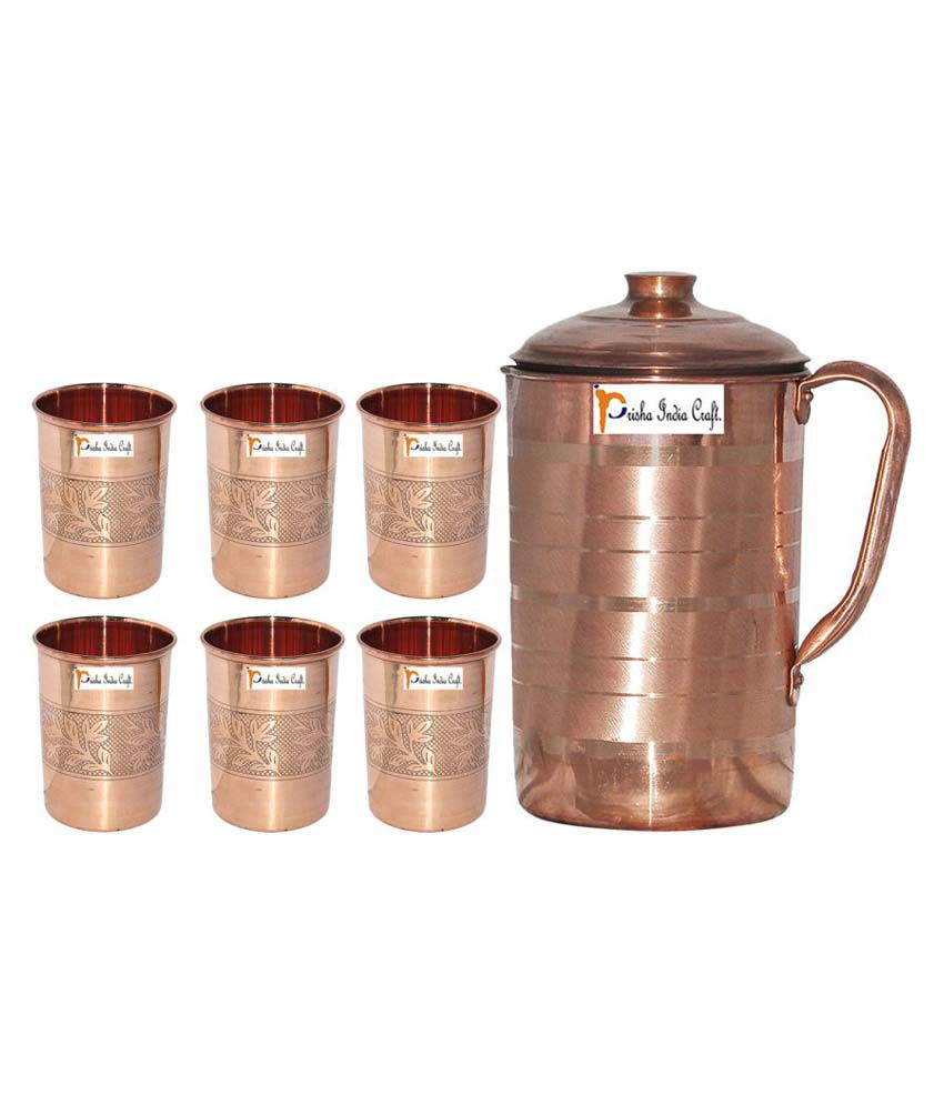 Prisha India Craft Copper Jug ( Handmade Jug 1899 ML / 64.21 oz ) with Six Glass Drinkware Set of Jug and Glass