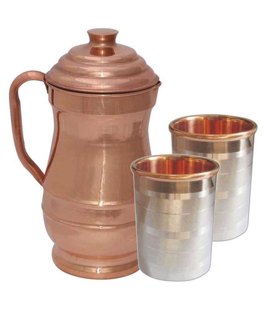 Prisha India Craft DIWALI GIFT - Pure Copper Jug ( MAHARAJA JUG 1900 ML / 64.25 oz ) with Two Glass