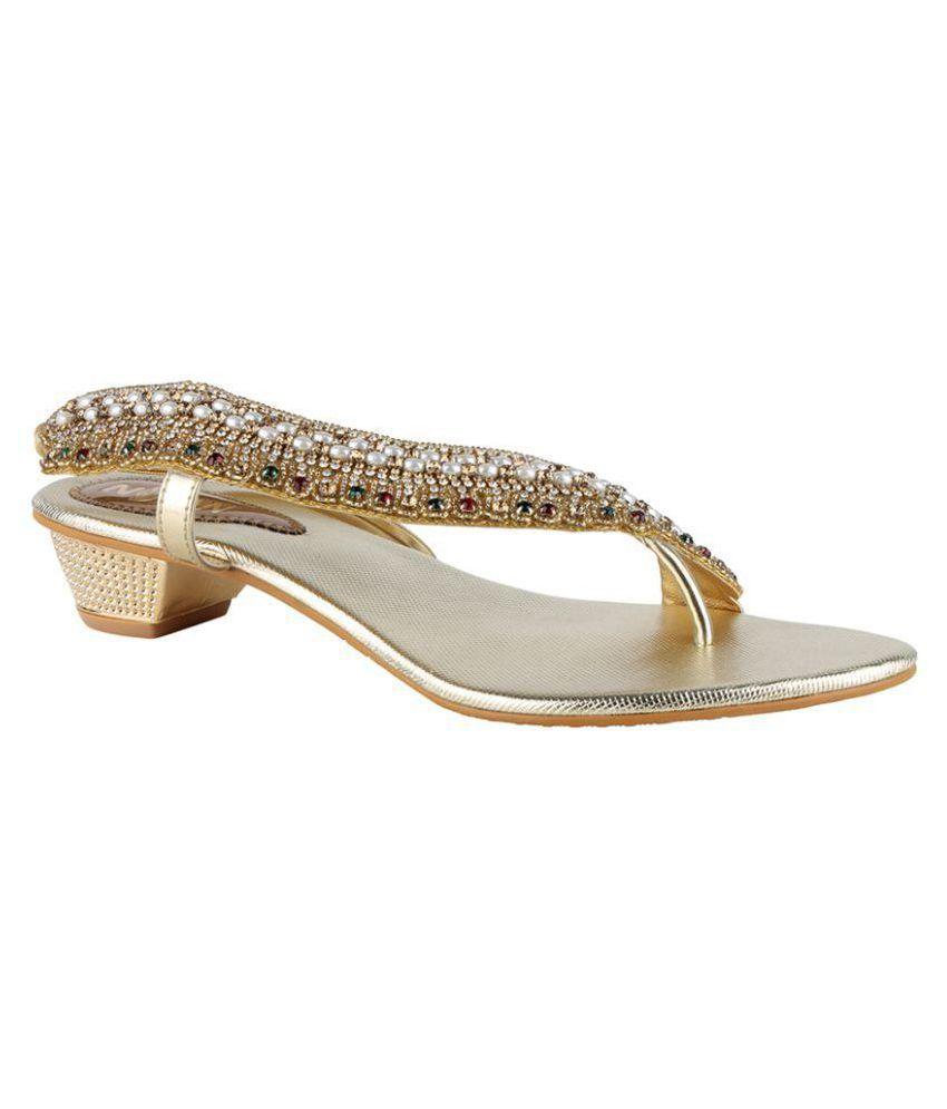 Nutan Stores Gold Block Heels