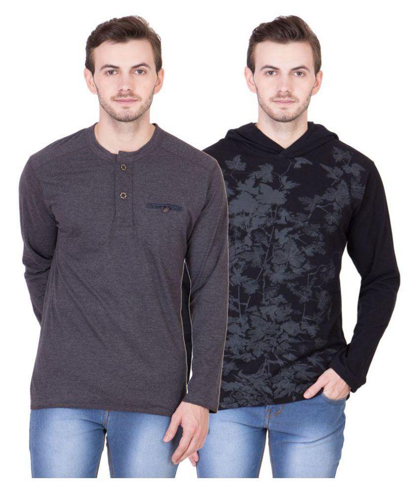 American-Elm Multi Henley T-Shirt Pack of 2