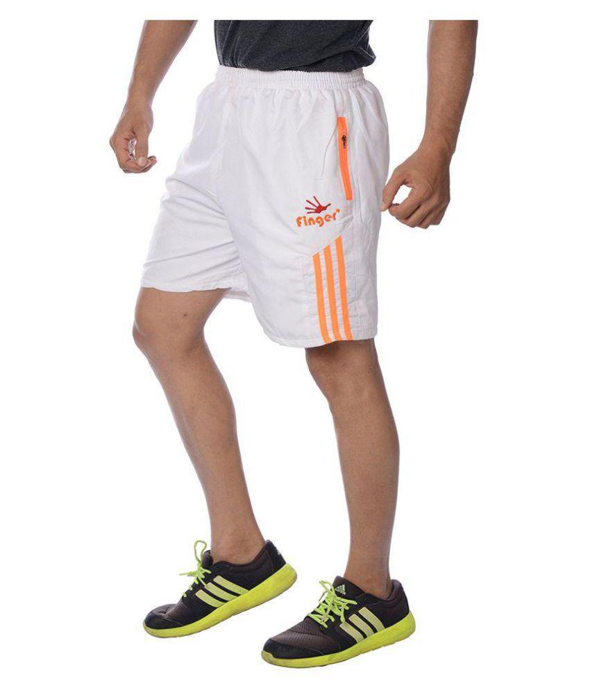 Finger's  Men's Polyester White-orange Shorts