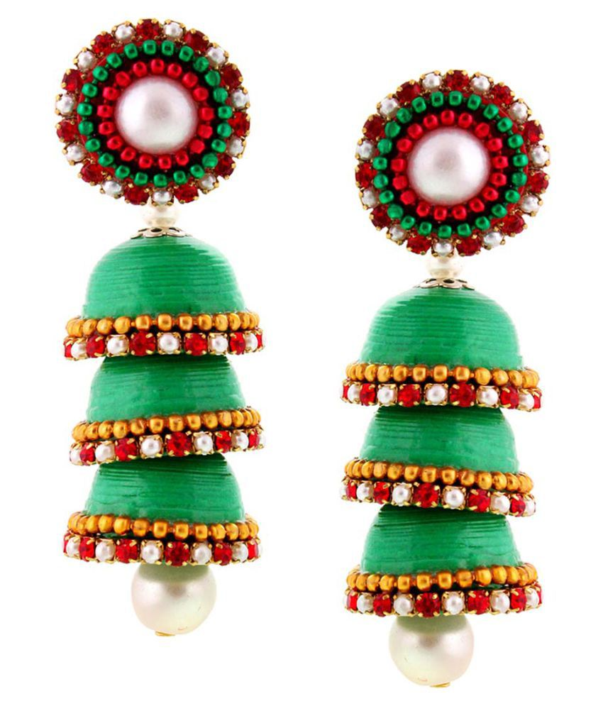 Halowishes Hancrafted Paper Quilling Green Triple Jhumka