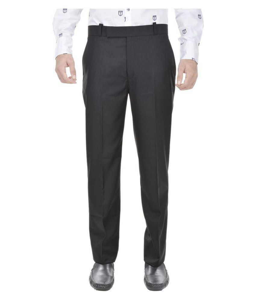 Trisera Black Slim Flat Trouser