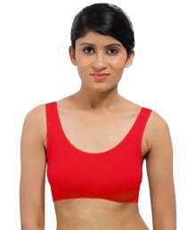 Pretty Girl Red Cotton Lycra Sports Bras