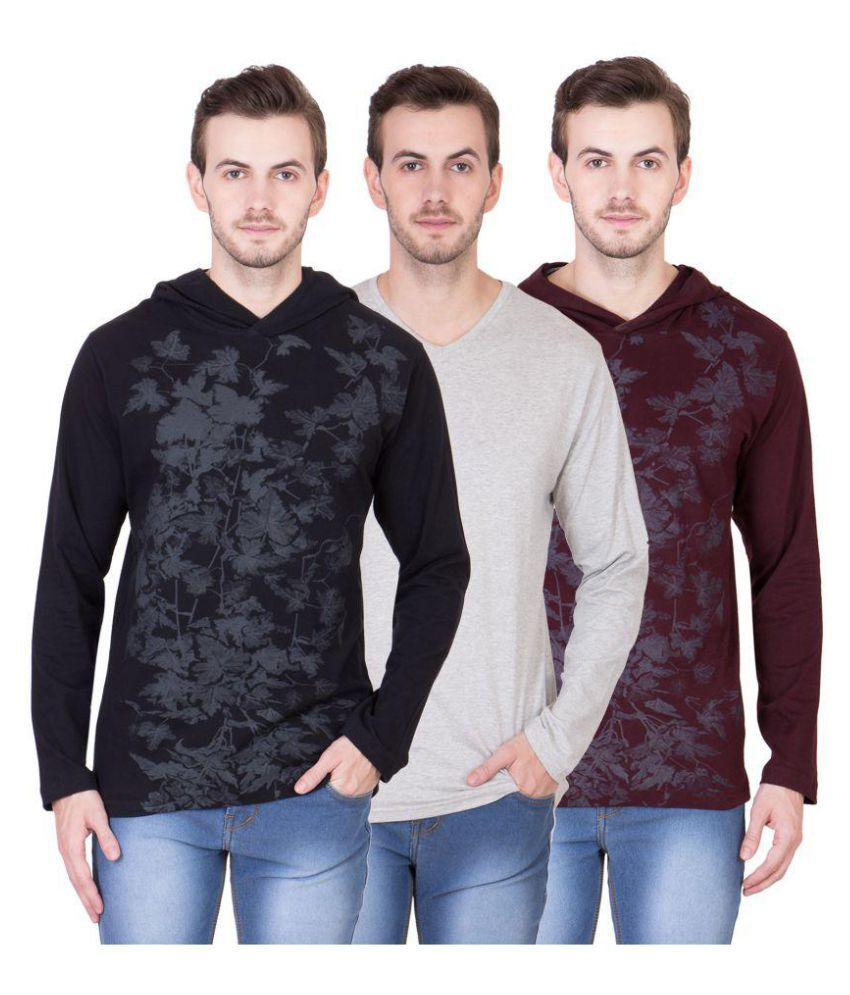 American-Elm Multi Round T-Shirt Pack of 3