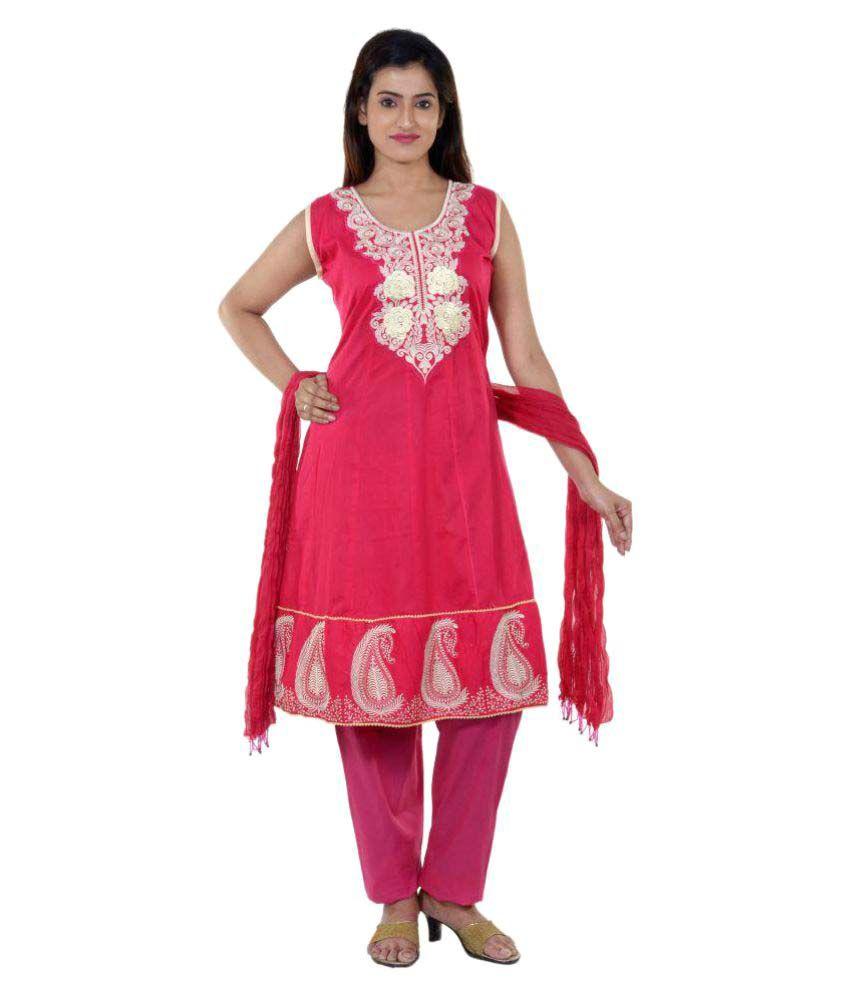 E2 Pink Cotton A-line Stitched Suit