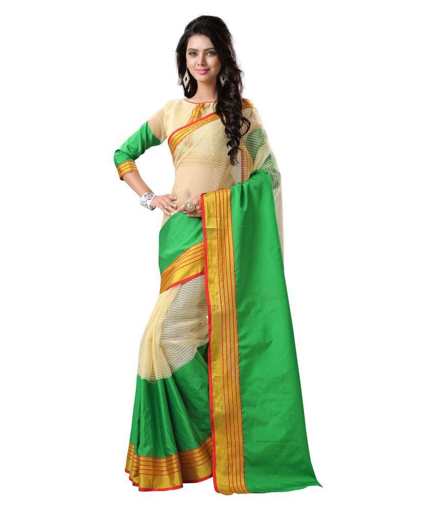 Krishna_Enterprise Multicoloured Cotton Blend Saree