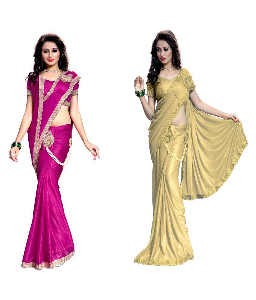 New Designer Saree Multicoloured Lycra Saree Combos