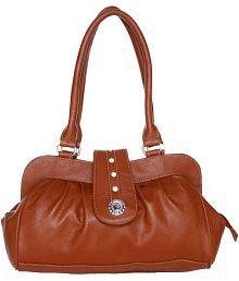 Lady Queen Tan Faux Leather Shoulder Bag