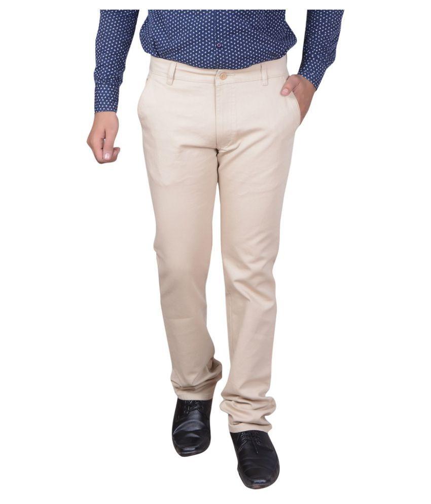 GDS Beige Regular Flat Trouser