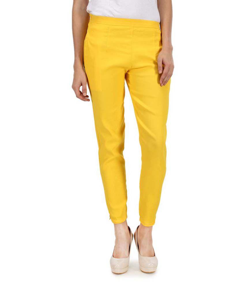 Kaaya Yellow Cotton Lycra Jeggings