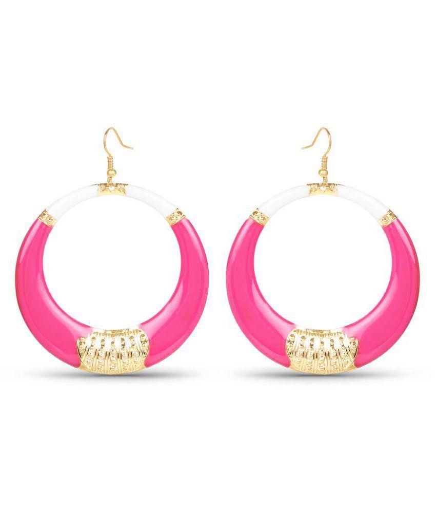 Johareez Gold Plated Pink Enamel Fashion Earrings