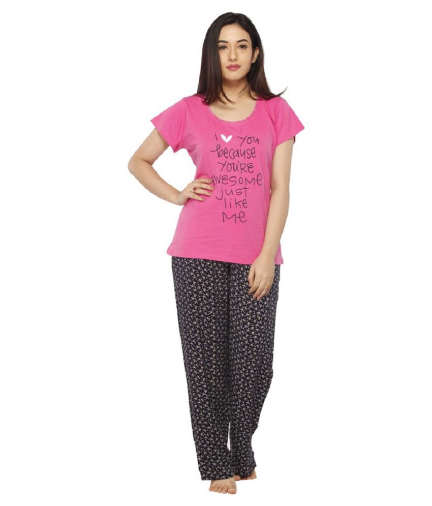 1bfc6b2714 Buy Vixenwrap Pink Cotton Nightsuit Sets Online at Best Prices in ...