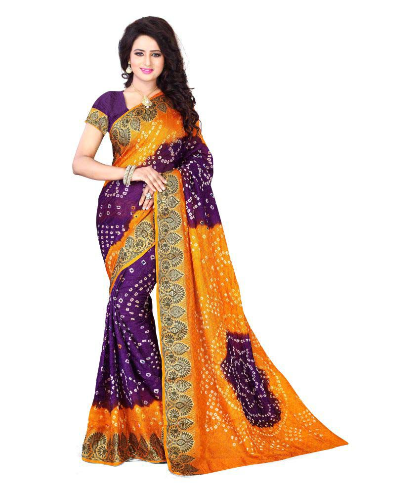 Greenvilla Designs Purple Art Silk Saree