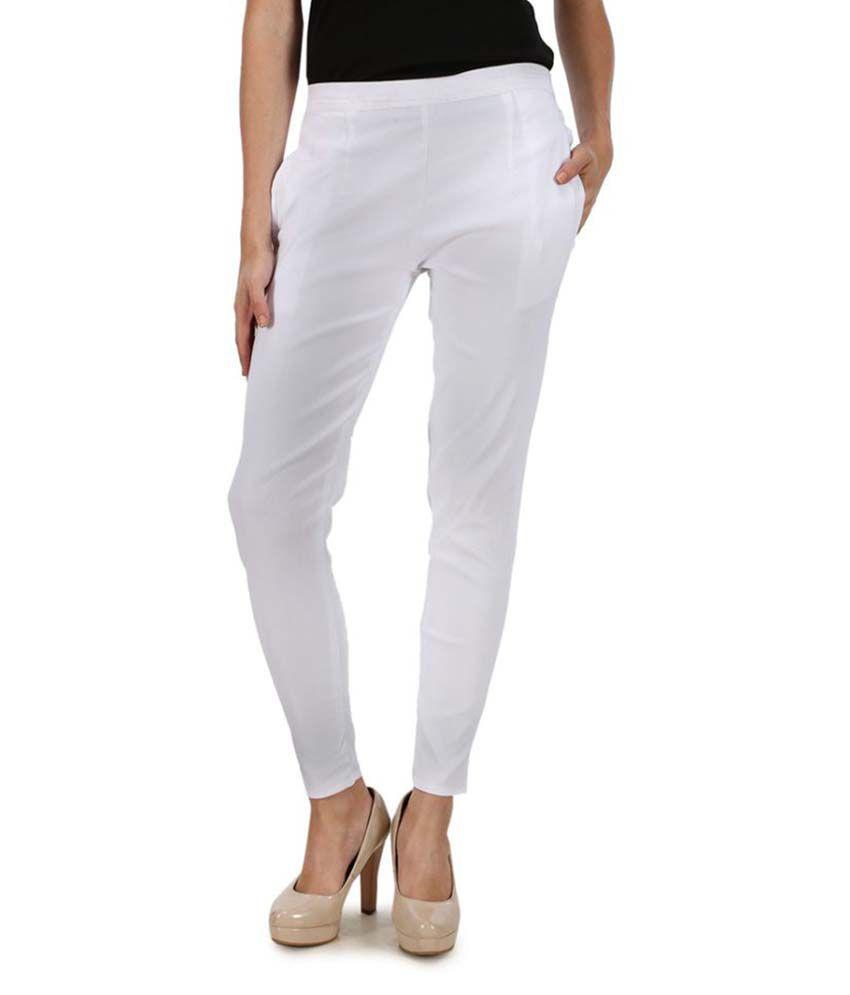 Kaaya White Cotton Lycra Jeggings