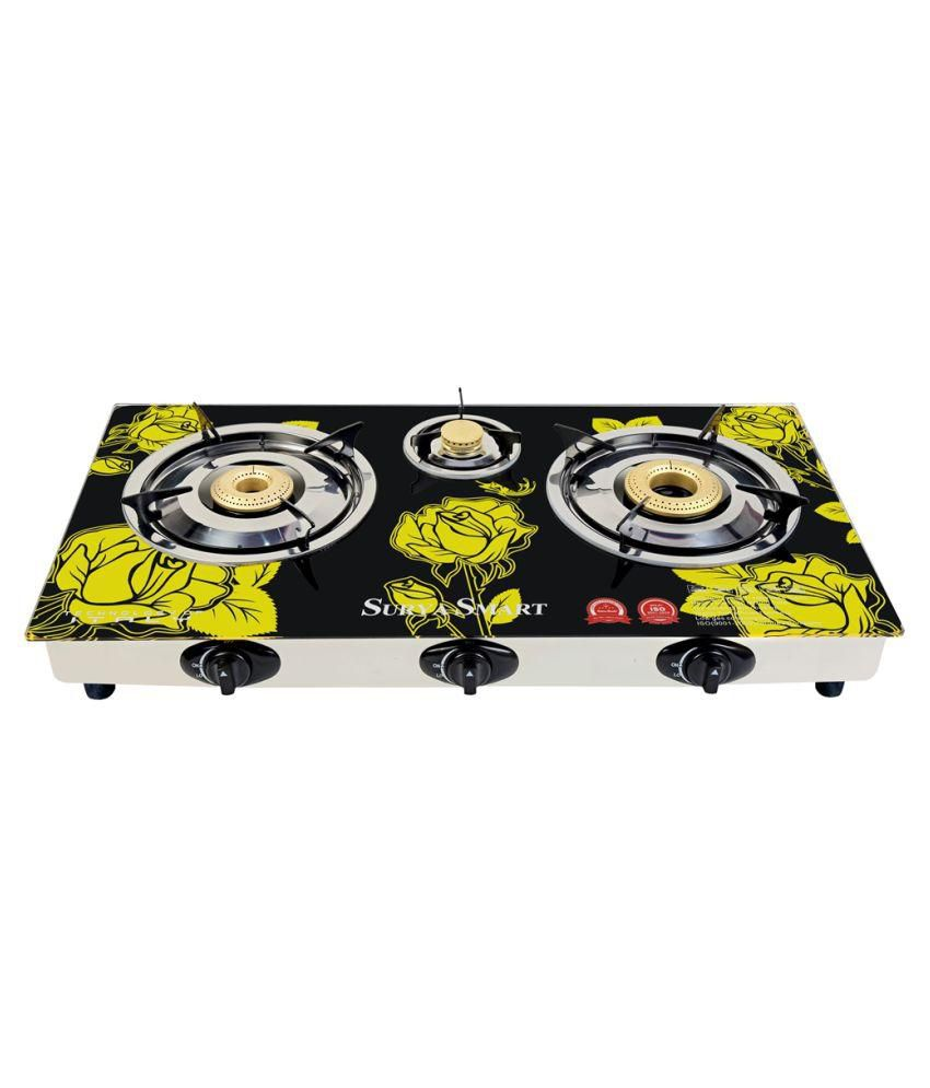 Surya Smart SS204N Auto Ignition Gas Cooktop (3 Burner)