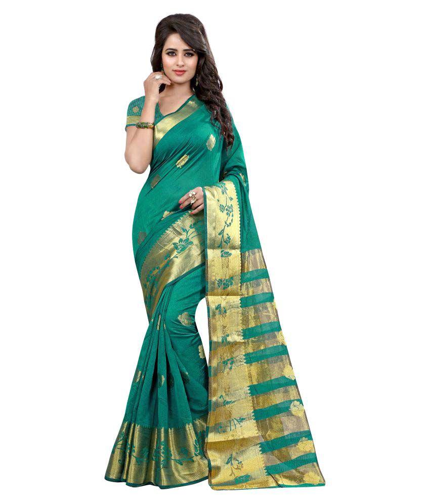 Greenvilla Designs Green Silk Saree