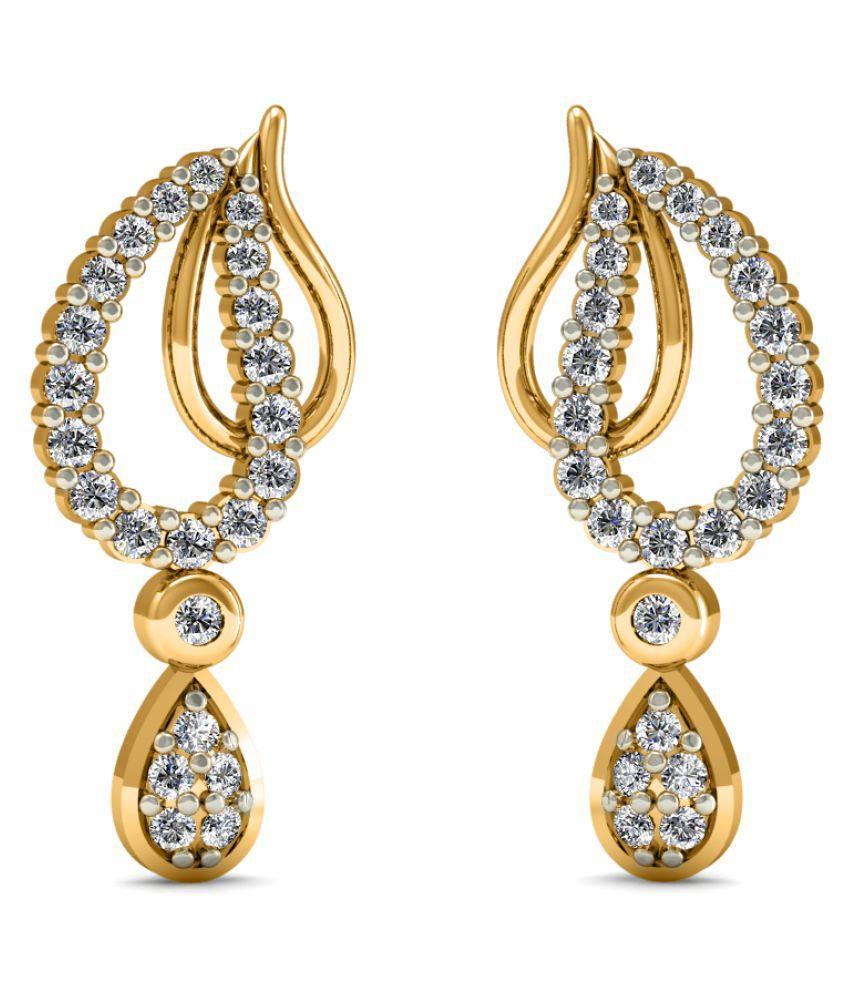 Diaonj 14k BIS Hallmarked Yellow Gold Diamond Hangings