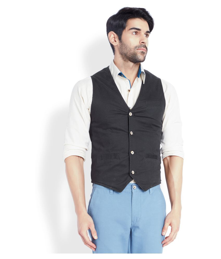 Park Avenue Black Solid Casual Waistcoats