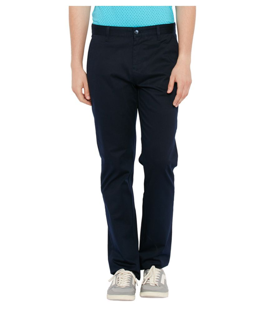 Parx Blue Tapered Flat Trouser