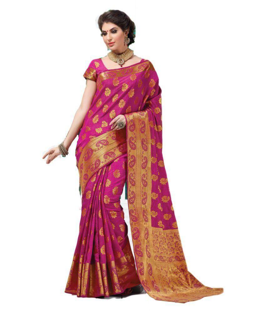 SULOCH Pink Chanderi Saree