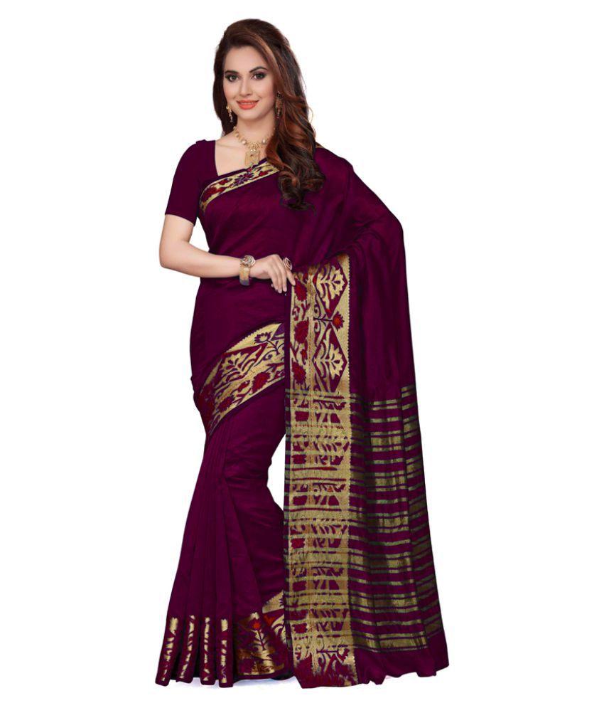 Saree Swarg Purple Art Silk Saree