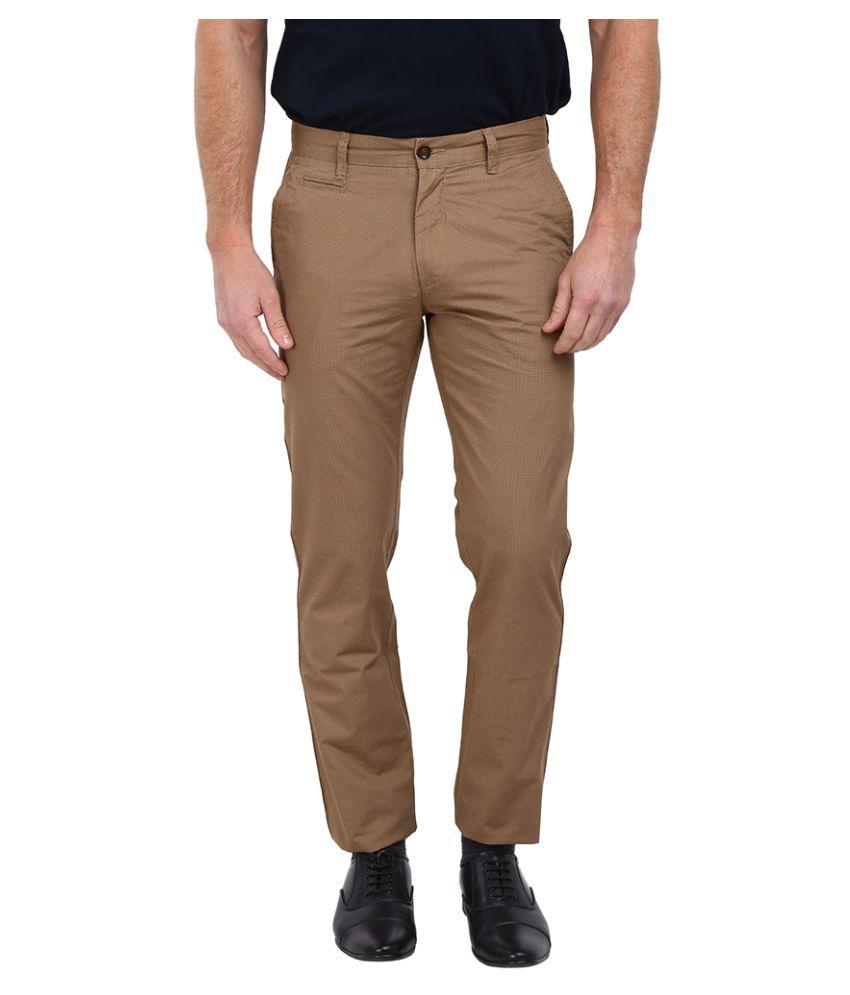 Arrow Sports Beige Slim Flat Trouser