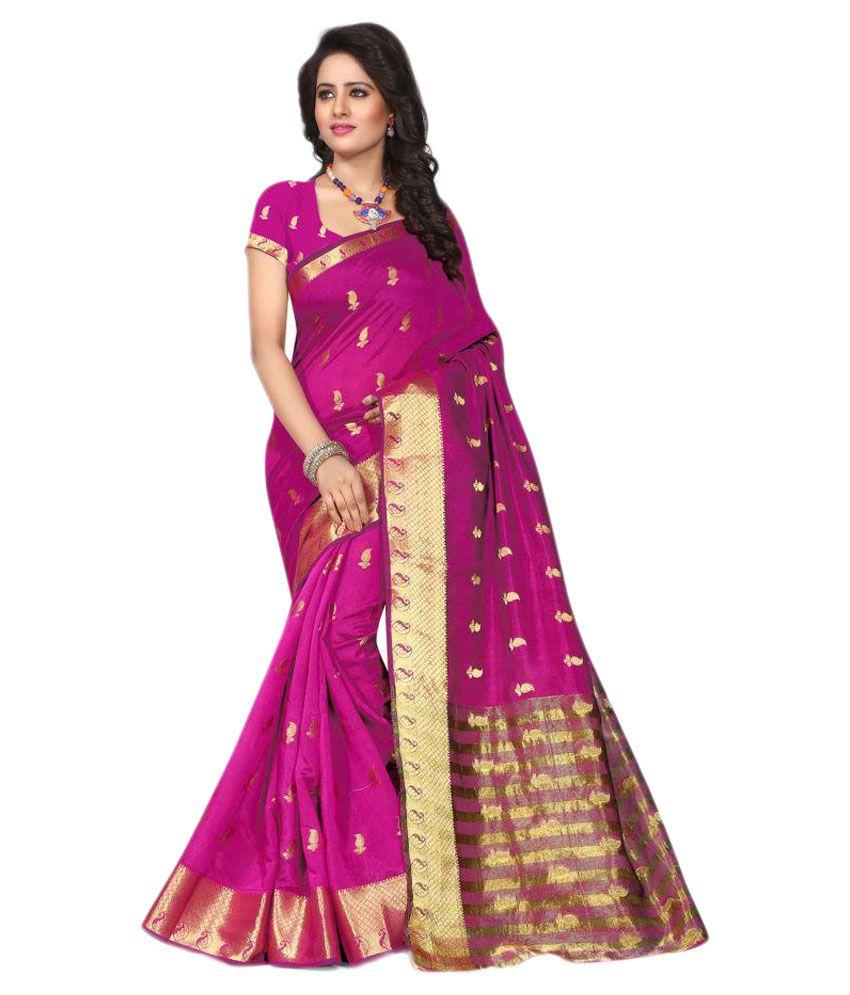 Vishvam creation Pink Art Silk Saree