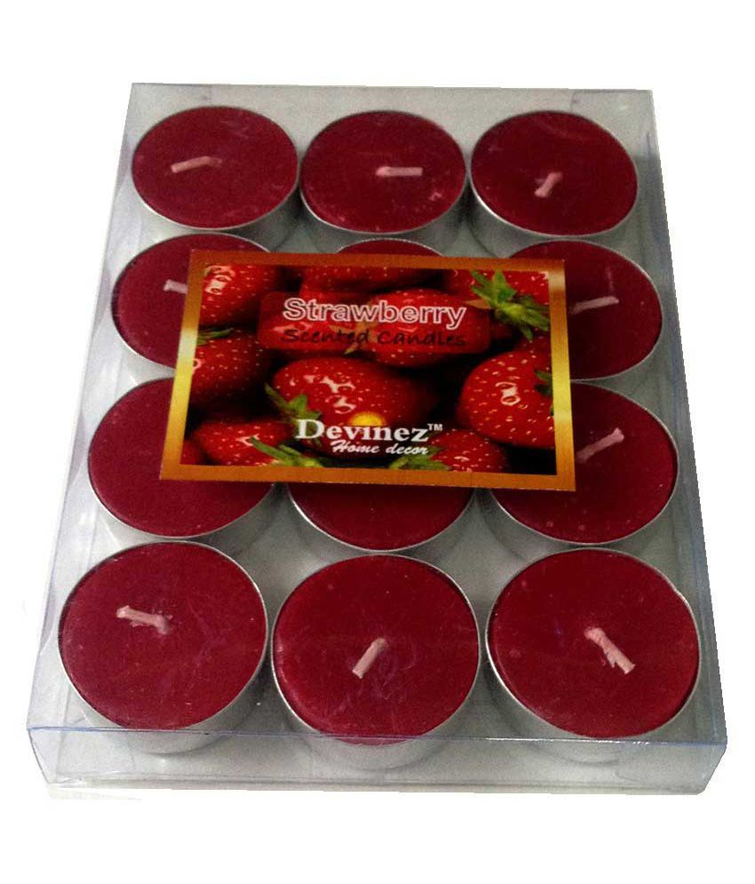 Devinez Scented Strawberry Smokeless Tealight Candle - Pack of 12