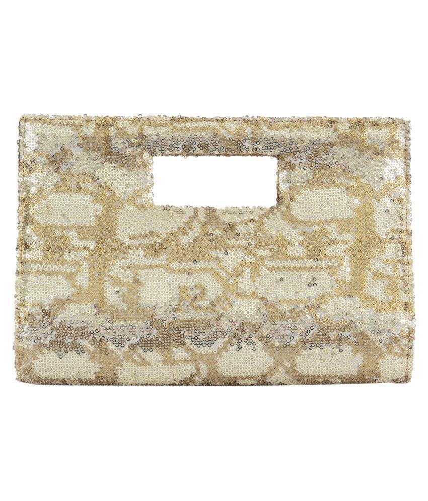 Satvah Beige Silk Box Clutch