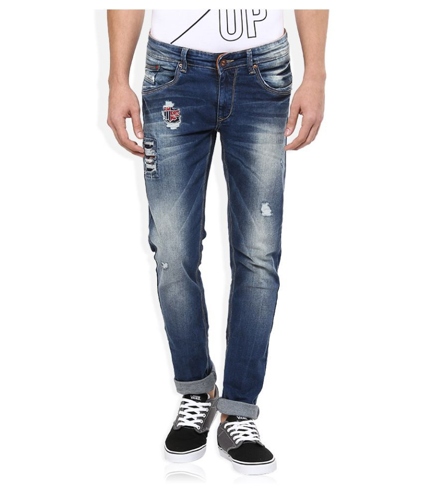 Spykar Blue Skinny Distressed