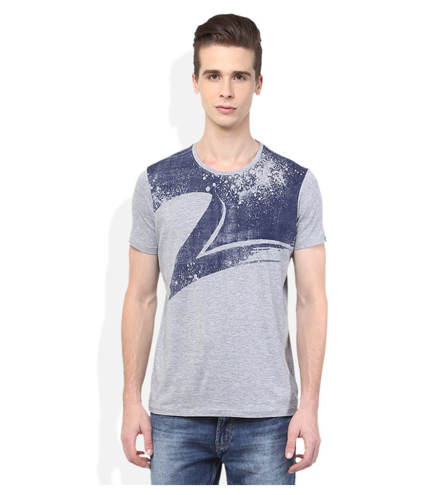 Spykar Grey Round T-Shirt