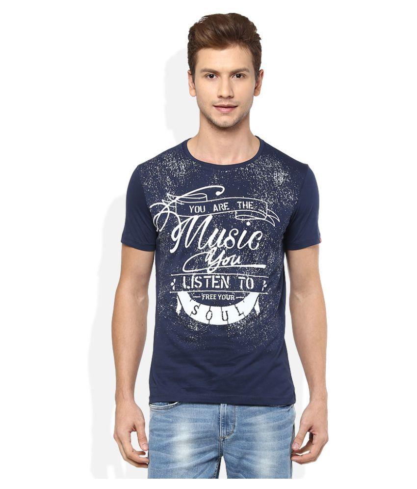 Spykar Navy Round T-Shirt