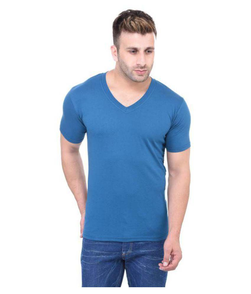Bi Fashion Blue V-Neck T-Shirt