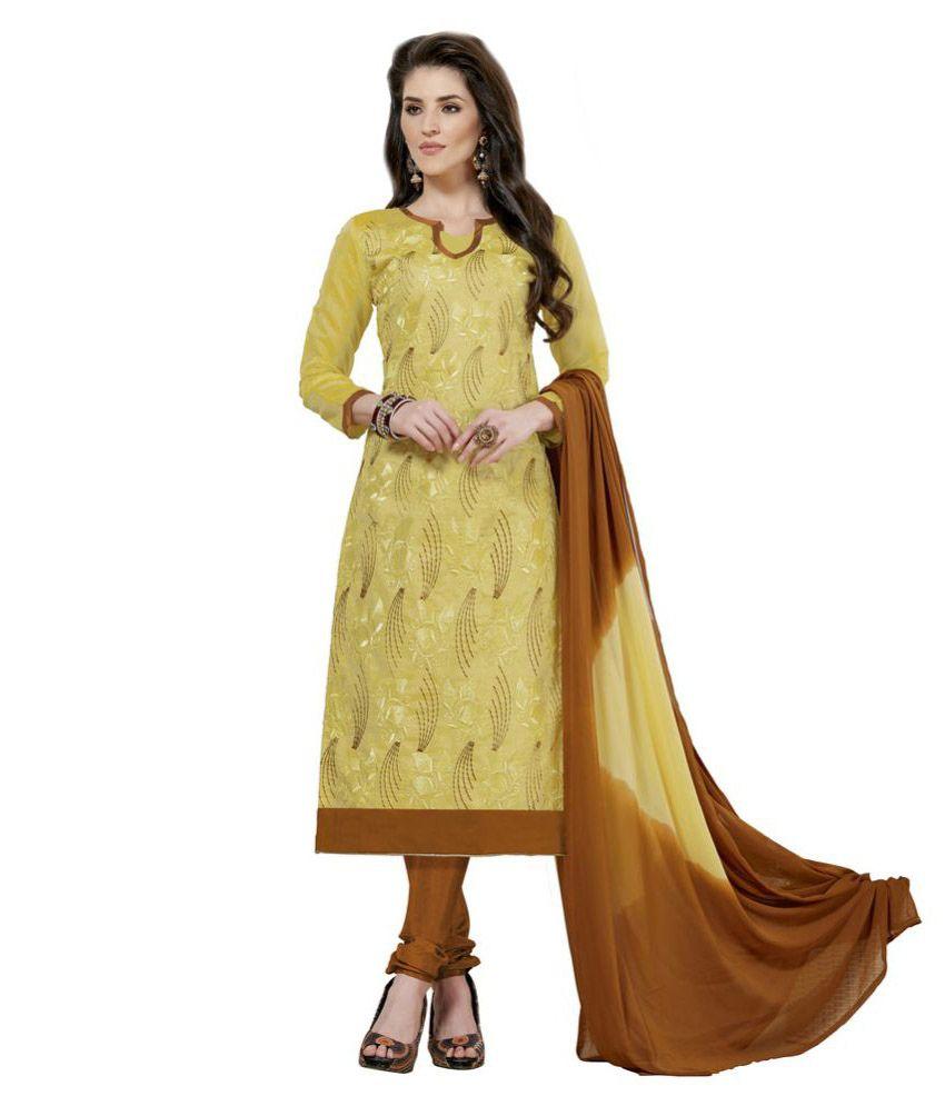 Fabvila Yellow Chanderi Dress Material