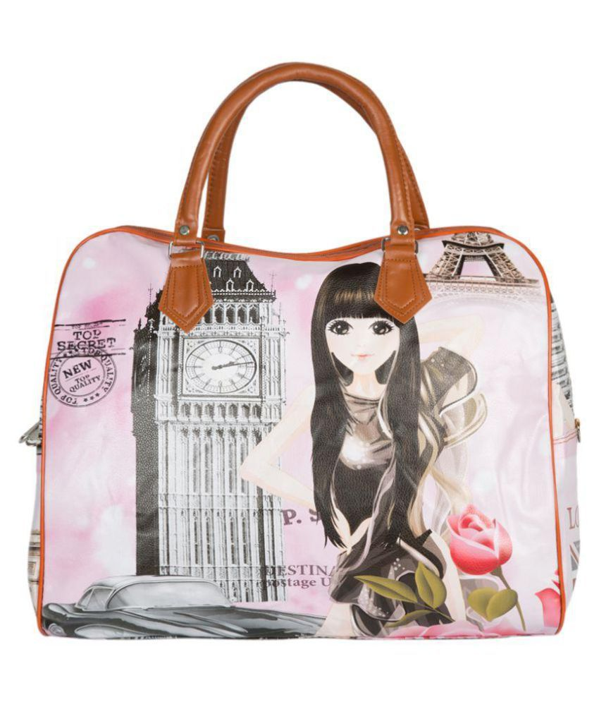 Pink and brown beautiful design smart and classy duffle bag for girls with  a free colourful water bottle with a glass - Buy Pink and brown beautiful  design ... 4eff33b278035