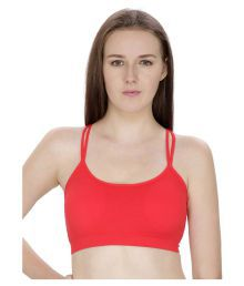 Dealseven Fashion Red Cotton Lycra Sports Bras - 661445704933