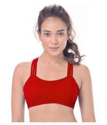 Gopalvilla Red Cotton Lycra Sports Bras