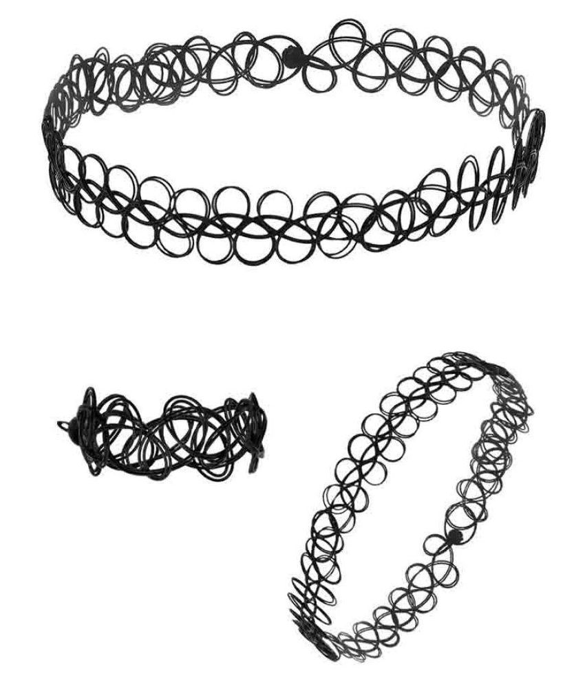 Voylla Combo of Black Choker Necklace, Bracelet and Ring