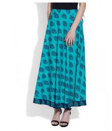 Very Me Turquoise Cotton A-Line Skirt