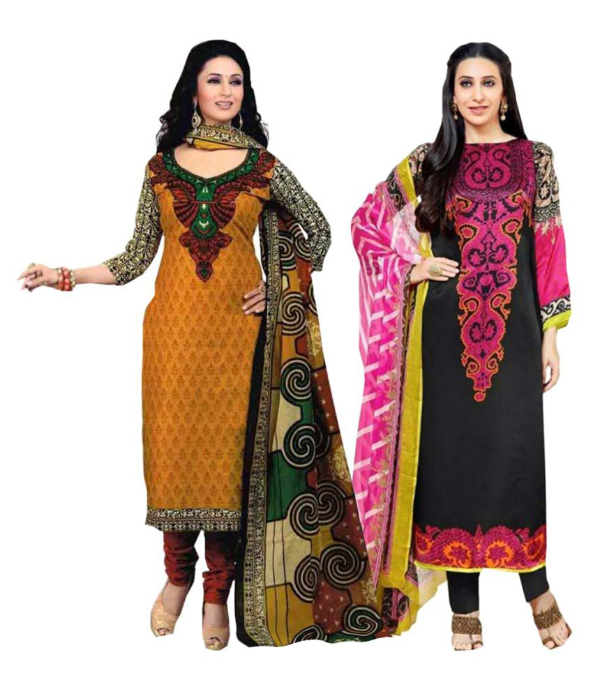 Yashika Multicoloured Crepe Dress Material