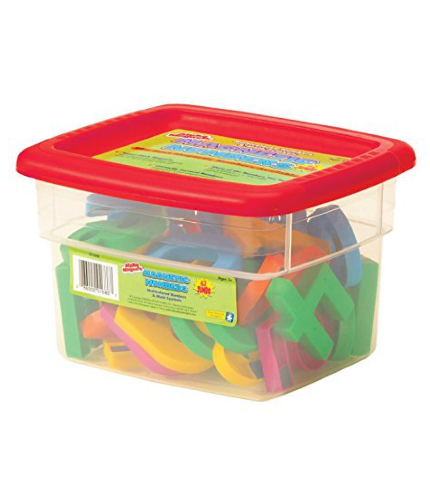 School Smart Jumbo Magnetic Numbers in Storage Tub - 2 1/2 inches - Set of 42 - Multiple Colors