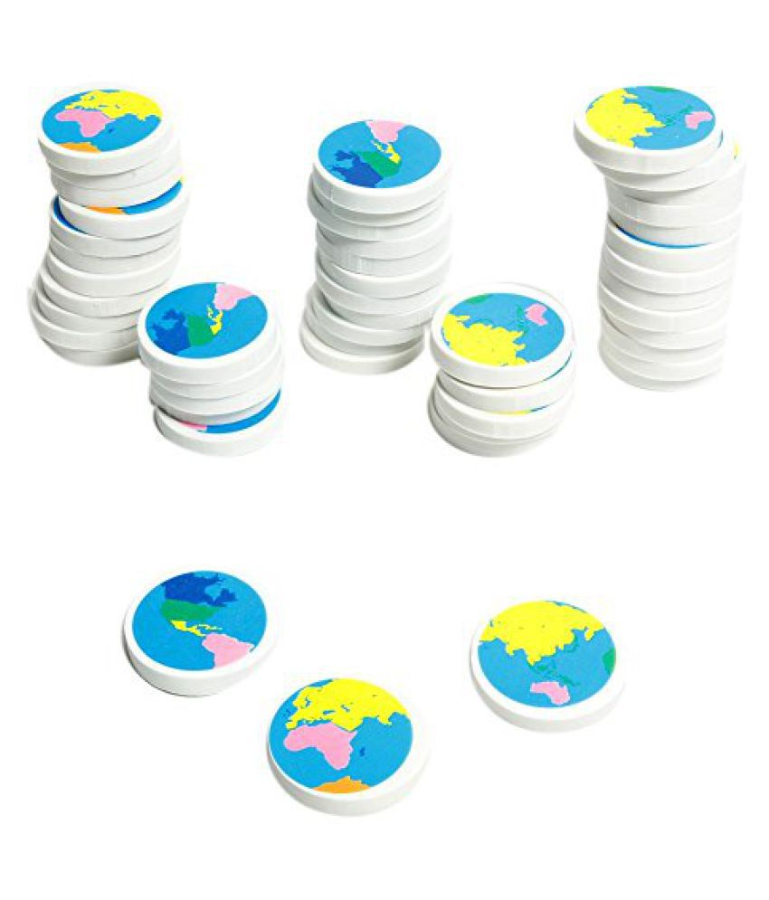 Globe Earth Erasers (48 Pcs) Basic School Supplies & Erasers & Pencil Toppers