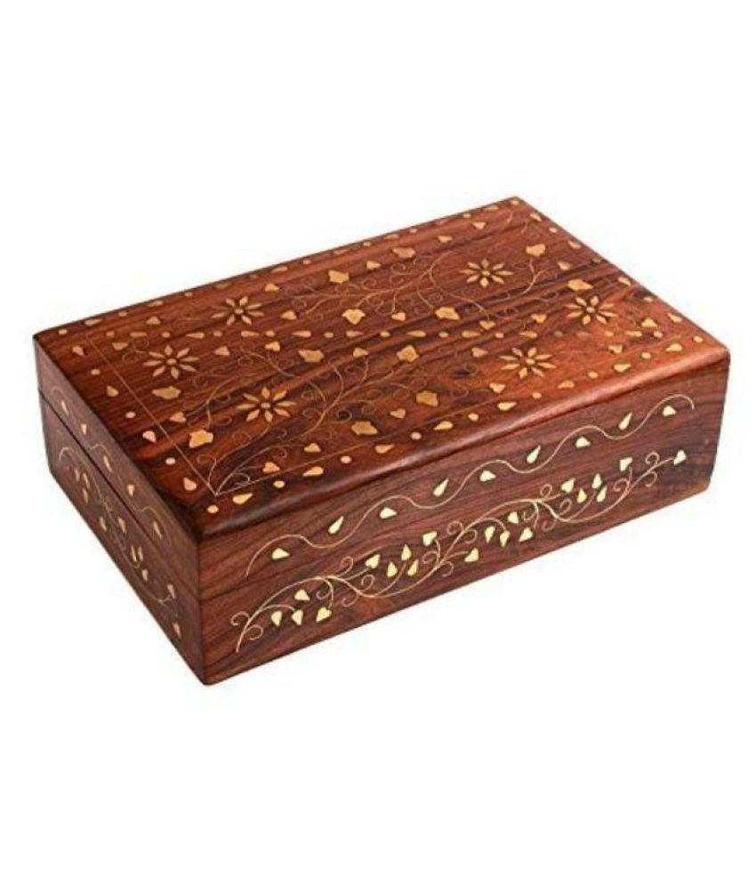 Preshi Wooden Handmade Brass Carving Leaf Floral Jewellery Box Gift Item